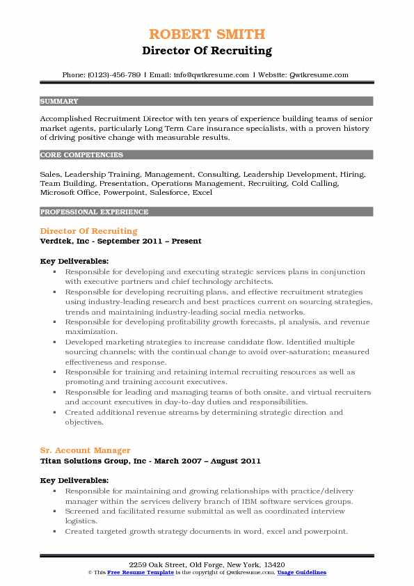 Director of Recruiting Resume Samples QwikResume