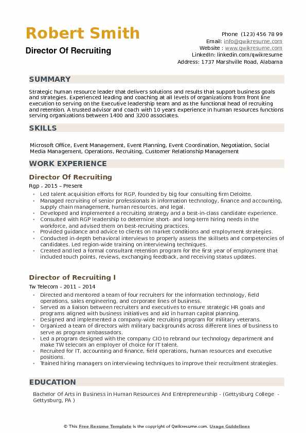 good recruiting resume examples