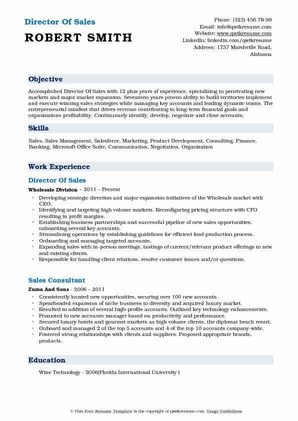 Director of Sales Resume Samples QwikResume