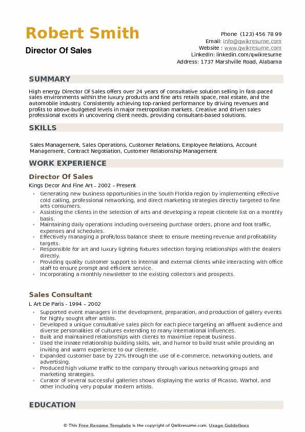Director of Sales Resume Samples QwikResume