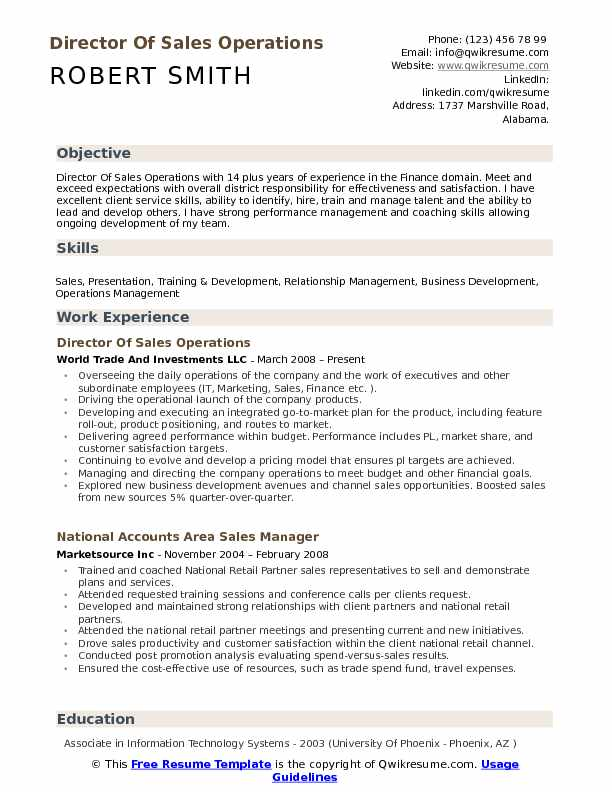 Director of Sales Operations Resume Samples QwikResume