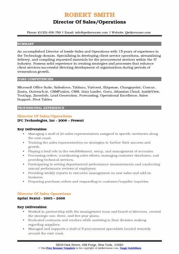resume samples directing