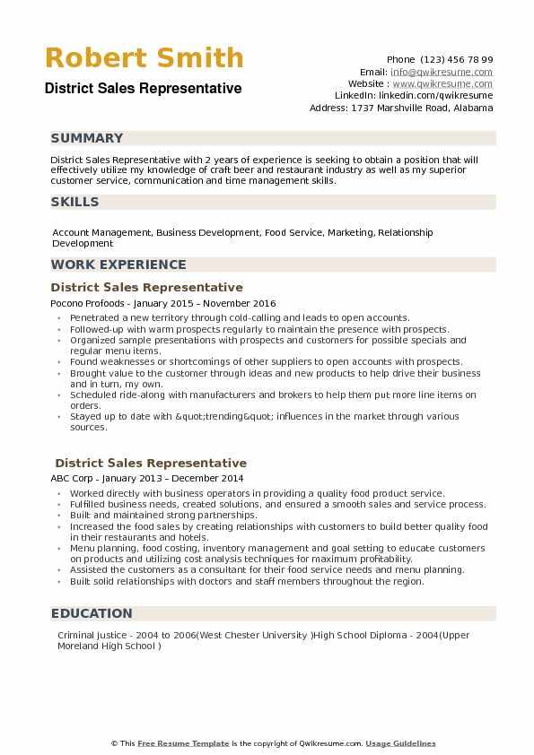 District Sales Representative Resume Samples QwikResume