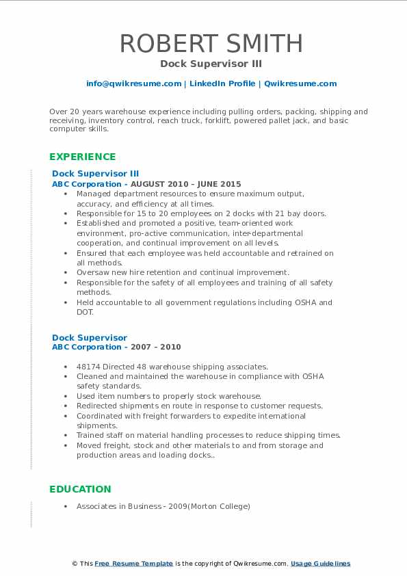 dock supervisor resume example