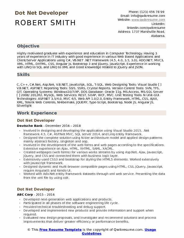 dot net developer resume sample