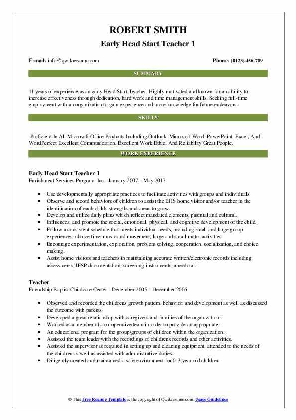 teacher resume skills