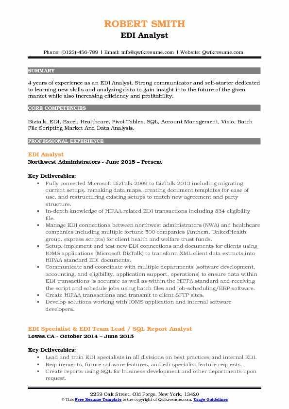 EDI Analyst Resume Samples QwikResume