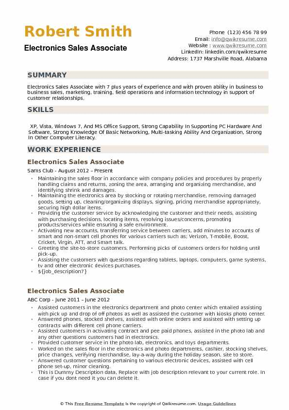 Electronics Sales Associate Resume Samples QwikResume - sales associate on resume