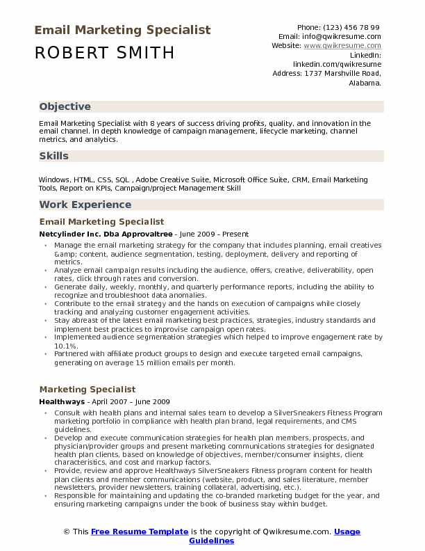 Email Marketing Specialist Resume Samples QwikResume - reading specialist resume