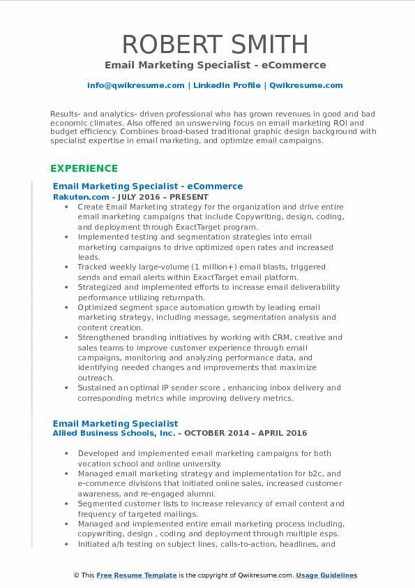 Email Marketing Specialist Resume Samples QwikResume - email resume samples