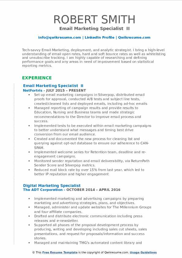 Email Marketing Specialist Resume Samples QwikResume - library specialist sample resume