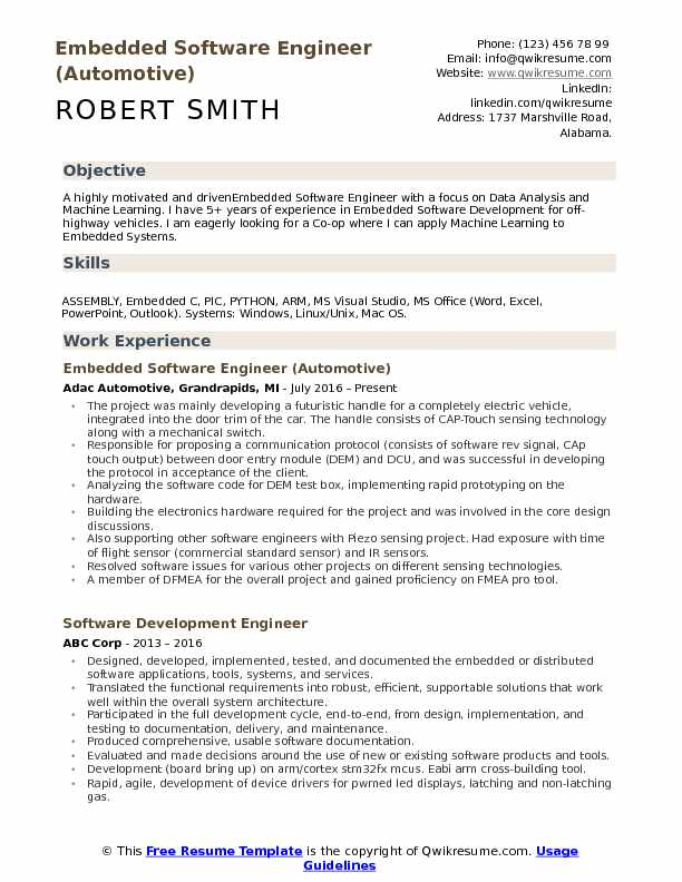 sample resume for embedded software engineer fresher