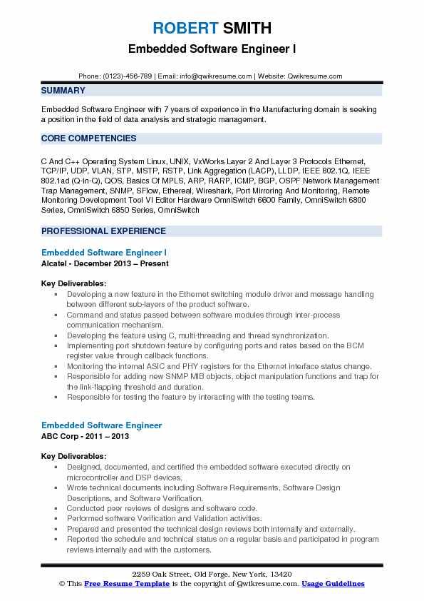 embedded software resume samples
