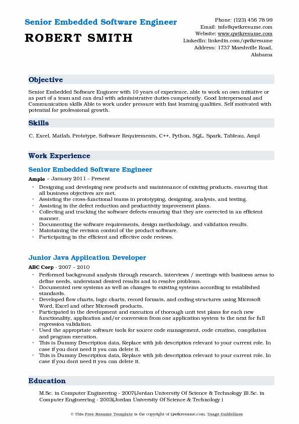 Embedded Software Engineer Resume Samples QwikResume