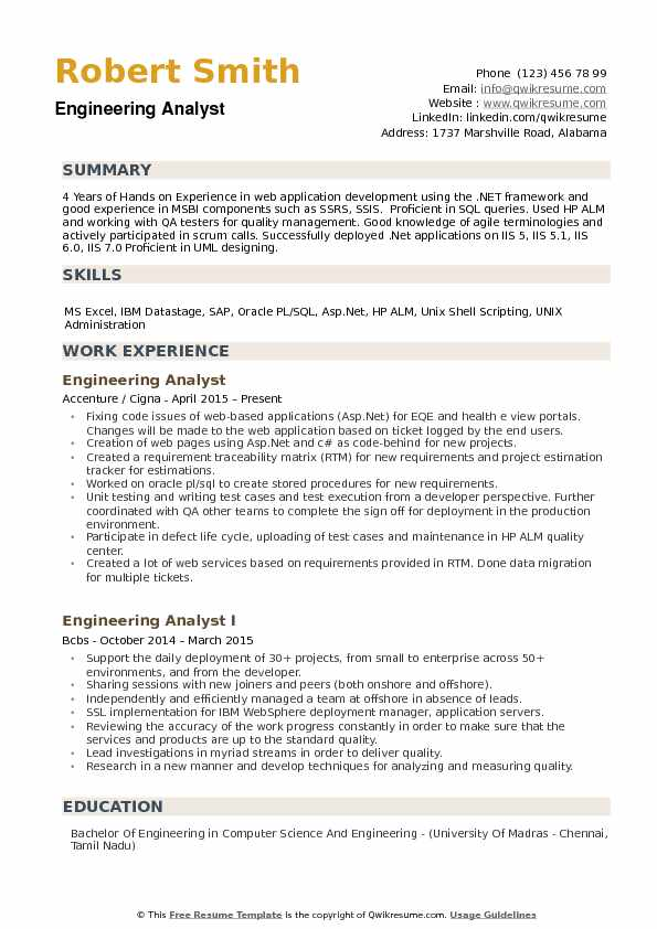 Engineering Analyst Resume Samples QwikResume