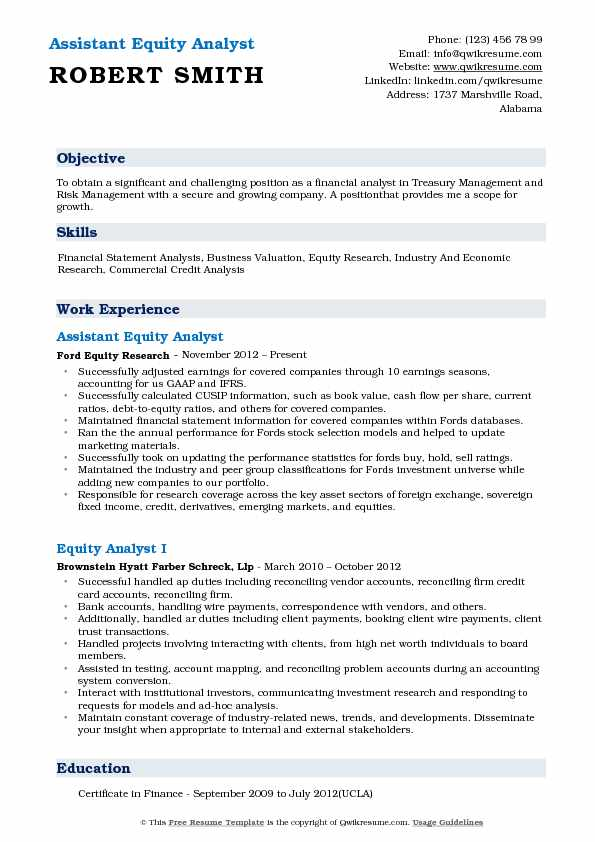 Equity Analyst Resume Samples QwikResume