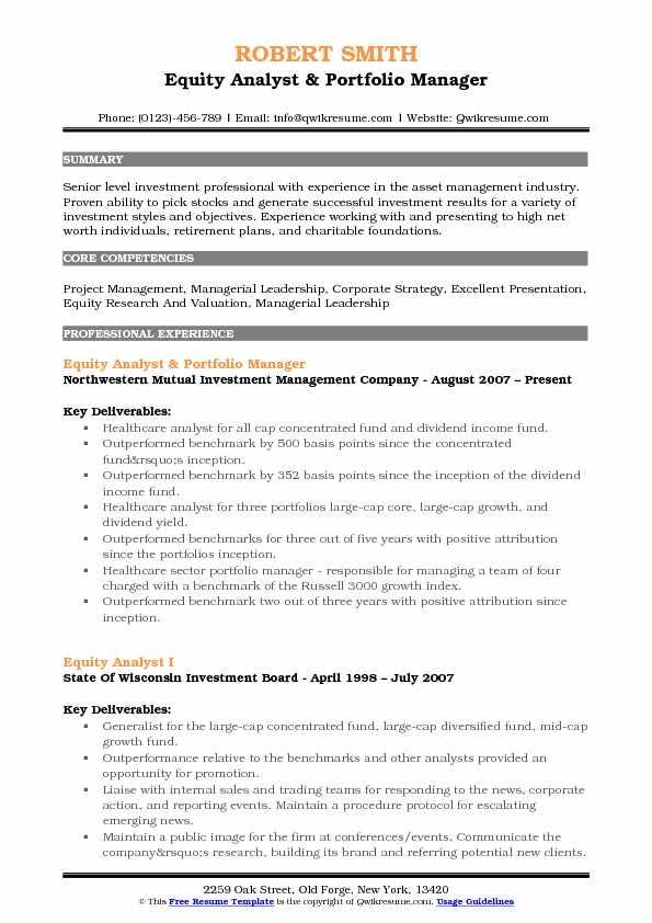 equity analyst resume