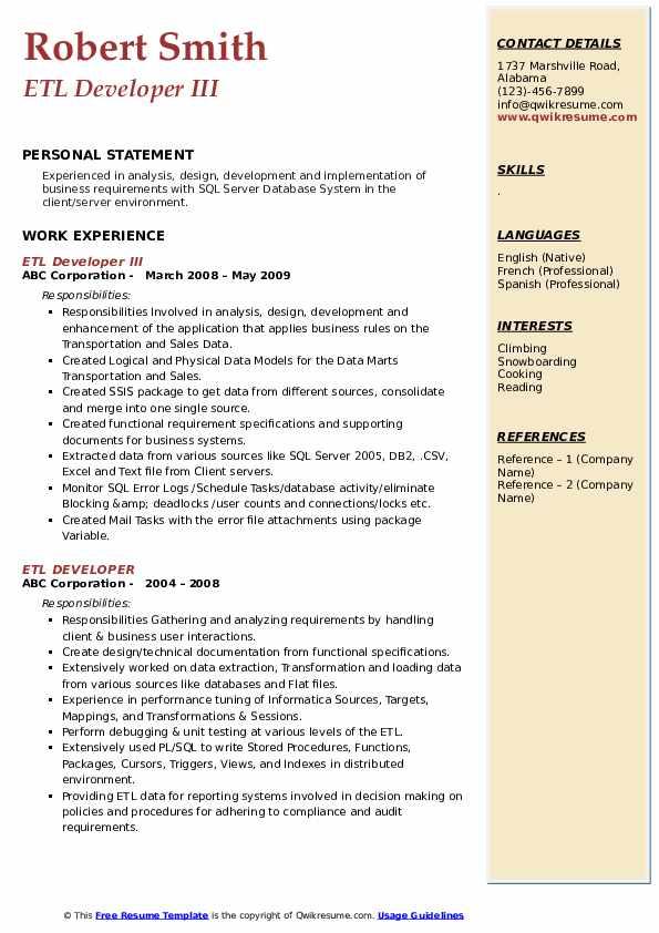 etl resume template