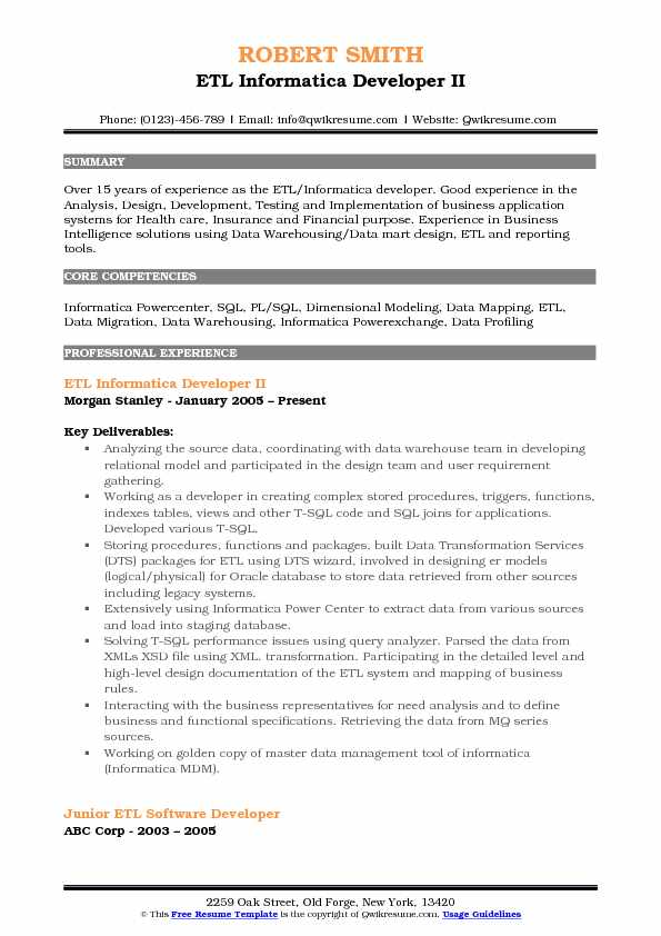 ETL Informatica Developer Resume Samples QwikResume