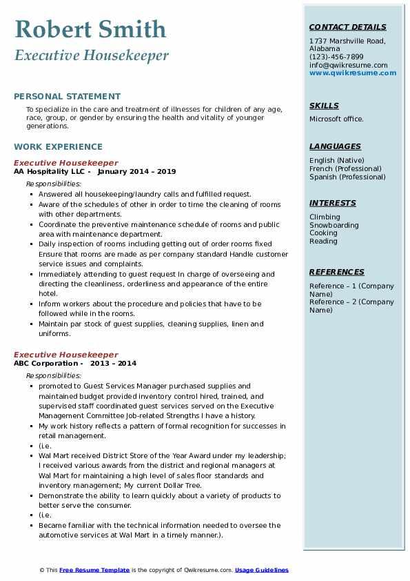example of executive housekeeper resume