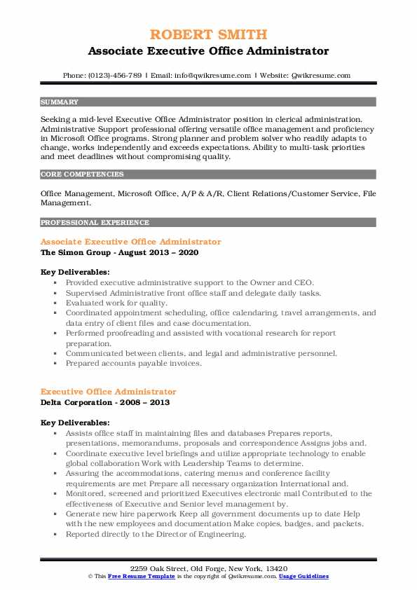 resume headline for office administrator