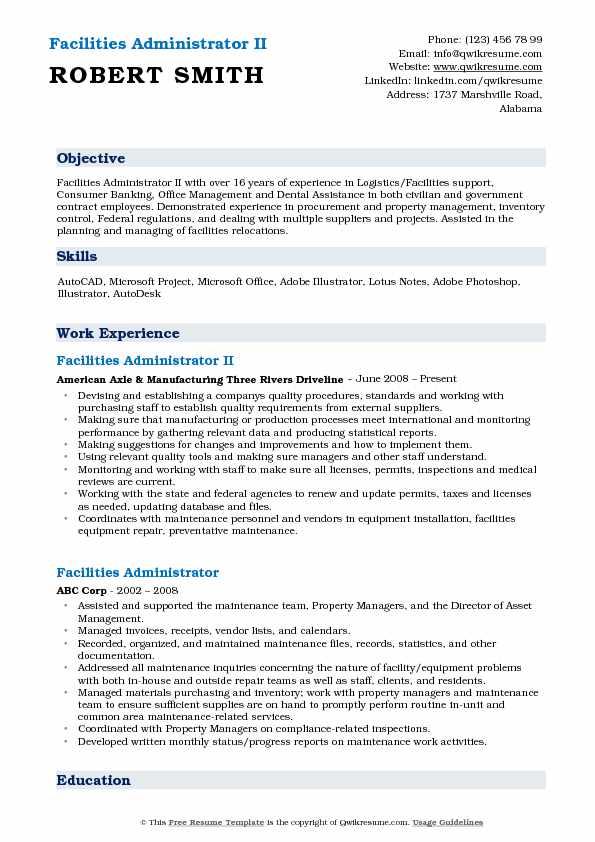 Facilities Administrator Resume Samples QwikResume