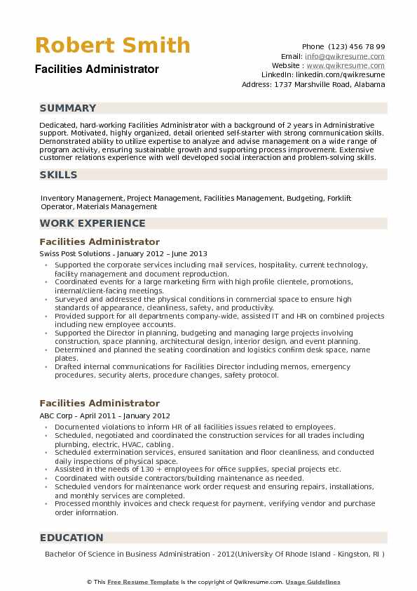Facilities Administrator Resume Samples QwikResume