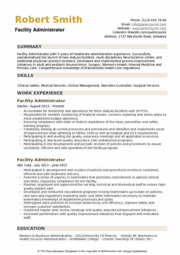 Facility Administrator Resume Samples QwikResume