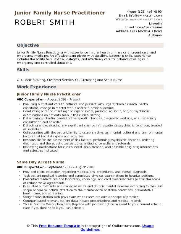 urgent care nurse practitioner resume samples