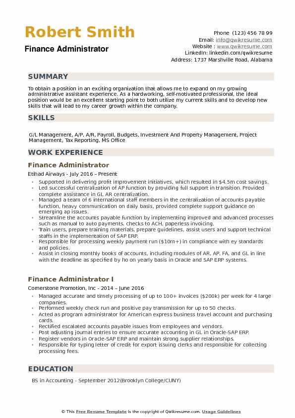 Finance Administrator Resume Samples QwikResume
