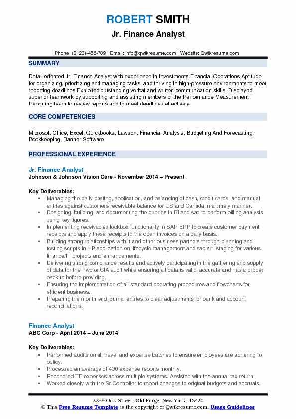 Finance Analyst Resume Samples QwikResume