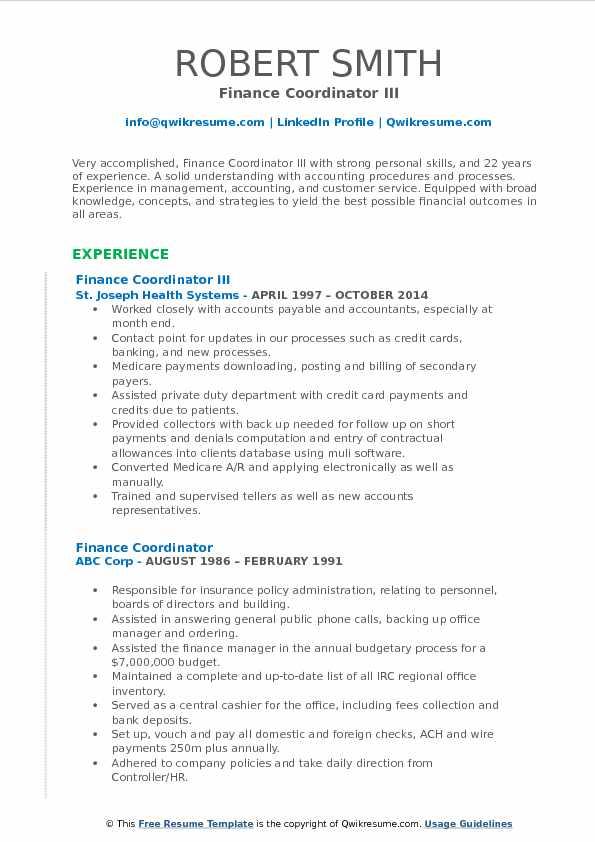 Finance Coordinator Resume Samples QwikResume