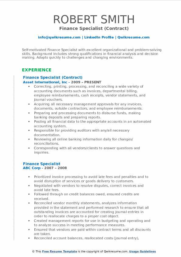 Financial Specialist Sample Resume freeletterfindby