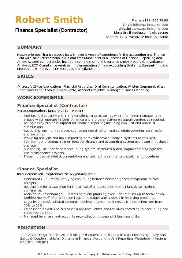 Finance Specialist Resume Samples QwikResume