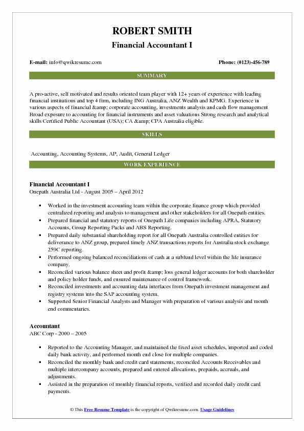 Financial Accountant Resume Samples QwikResume