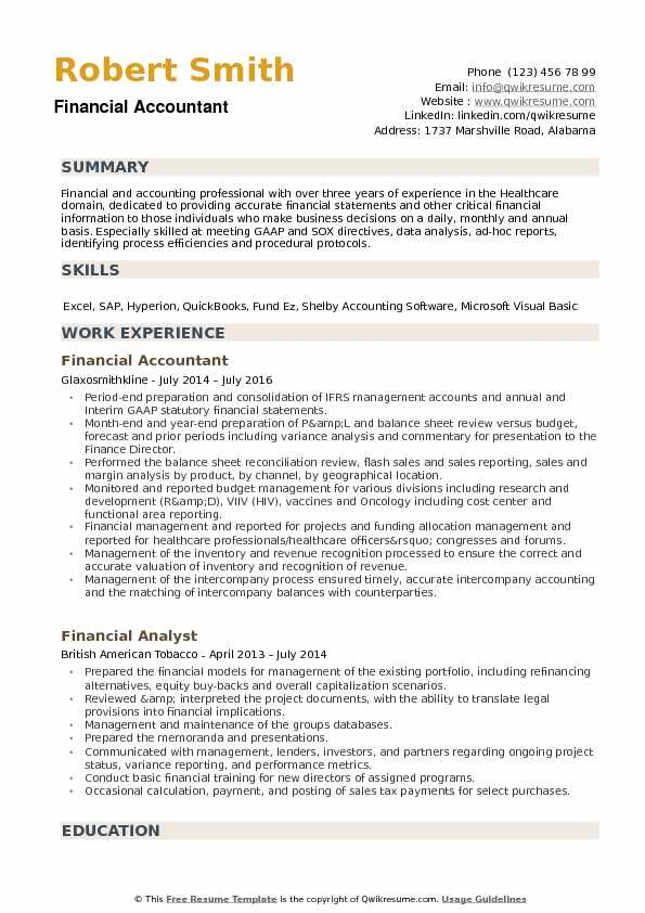 Financial Accountant Resume Samples QwikResume