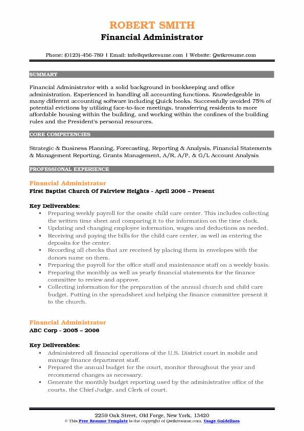 Financial Administrator Resume Samples QwikResume - Housing Administrator Sample Resume