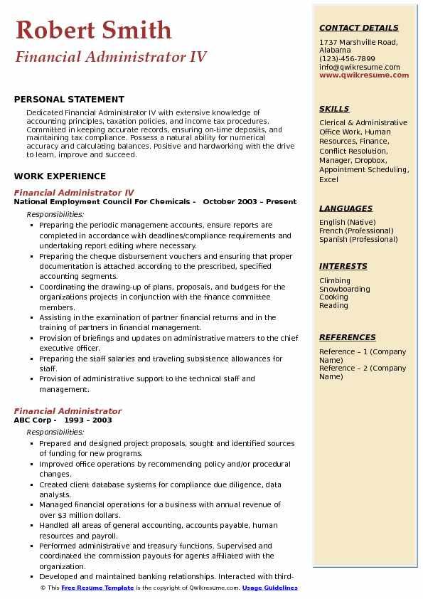 Project Administrator Resume Sample Finance