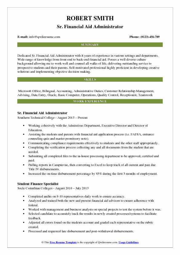 Financial Aid Resume Image collections - free resume templates word