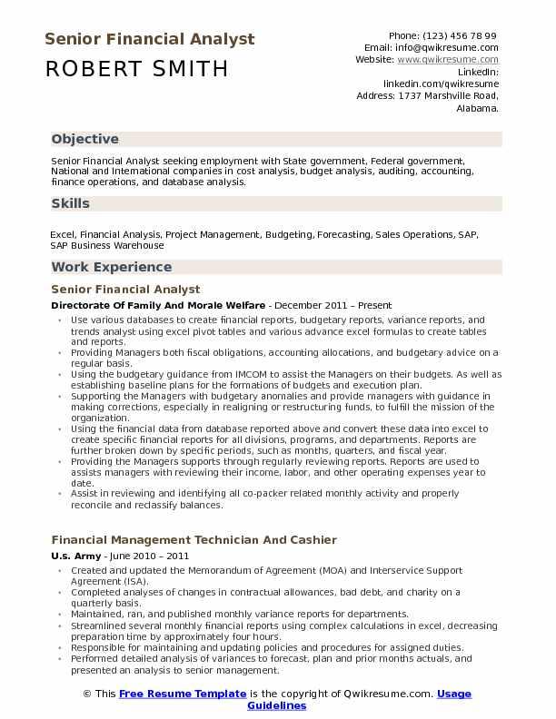 Financial Analyst Resume Samples QwikResume