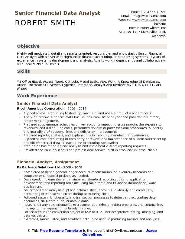 Financial Data Analyst Resume Samples QwikResume - financial data analyst resume