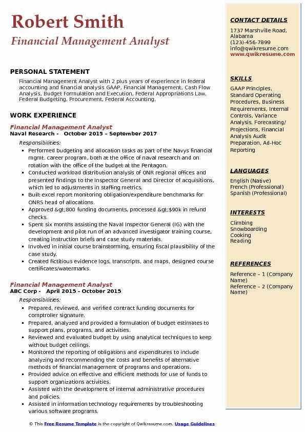 Financial Management Analyst Resume Samples QwikResume