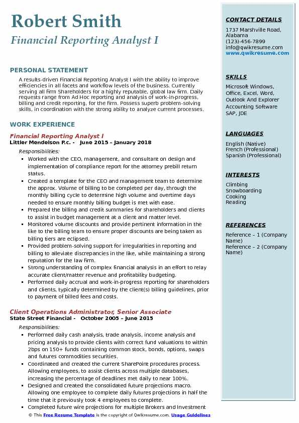 Financial Reporting Analyst Resume Samples QwikResume