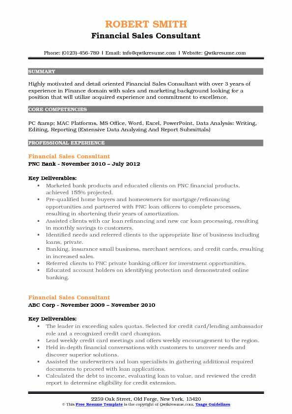 Financial Sales Consultant Resume Samples QwikResume