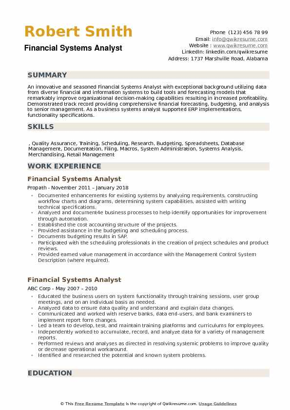 Financial Systems Analyst Resume Samples QwikResume