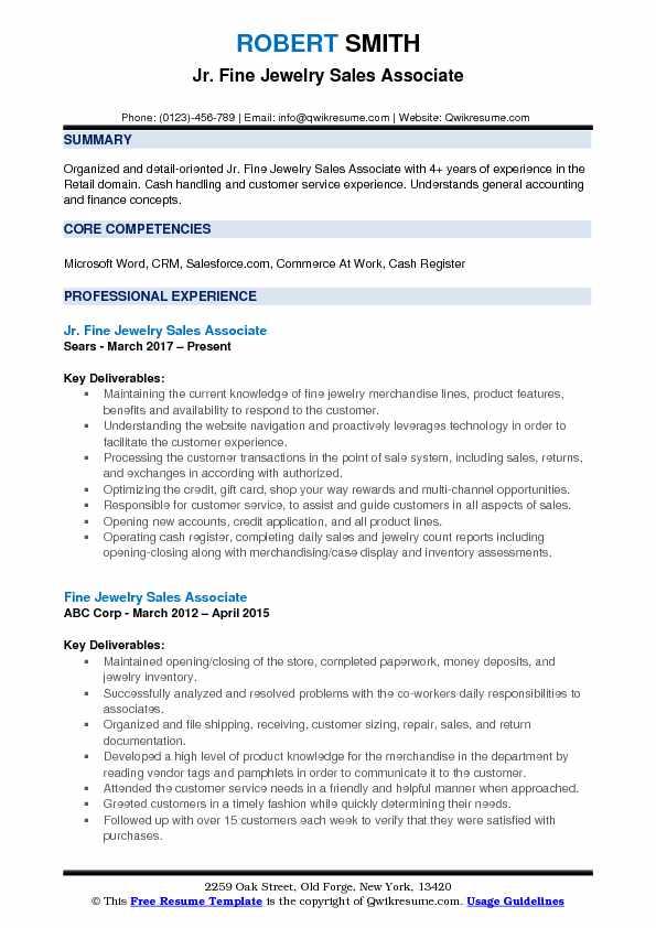 jewelry sales resume samples