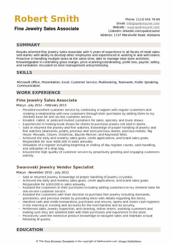 Fine Jewelry Sales Associate Resume Samples QwikResume