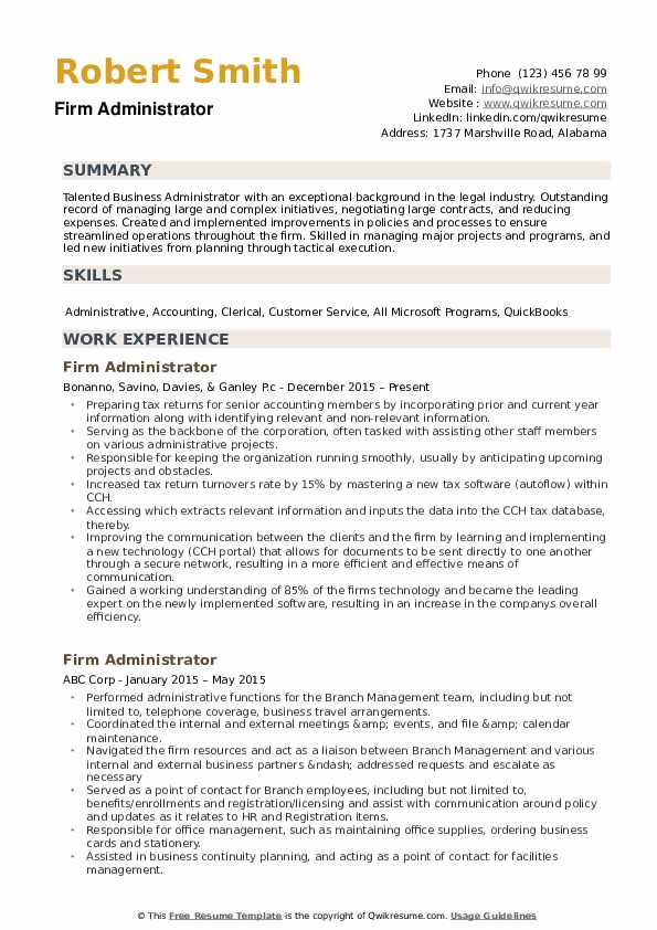 law firm administrator sample resume comprandofacilco