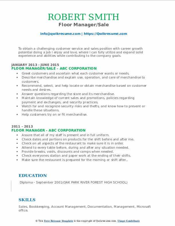sample resume for restaurant floor manager