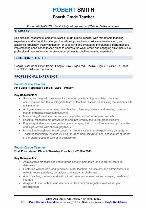 Fourth Grade Teacher Resume Samples QwikResume